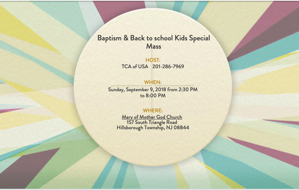 Baptism & Back To School Kids Special Mass